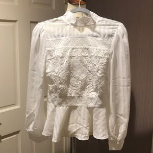 White chiffon blouse with lacy detail, size M (S)